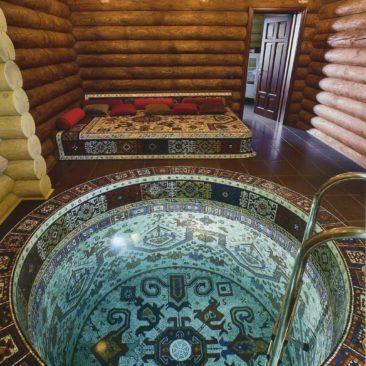 Купель из бетона (отделка мозаика)